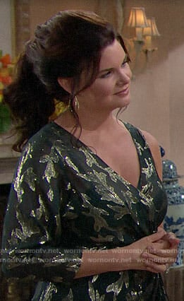 Katie's green Thanksgiving dress on The Bold and the Beautiful