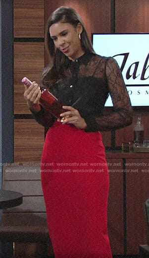 Kerry's black lace shirt on The Young and the Restless