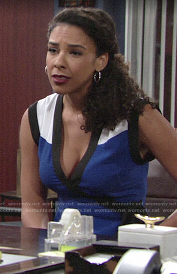 Kerry's blue wrap top on The Young and the Restless