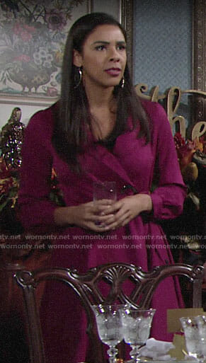 Kerry's magenta trench dress on The Young and the Restless