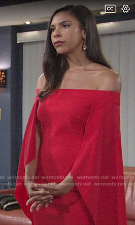 Kerry's red off-shoulder cape dress on The Young and the Restless