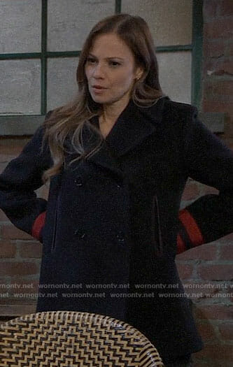 Kim's navy peacoat with red striped cuffs on General Hospital