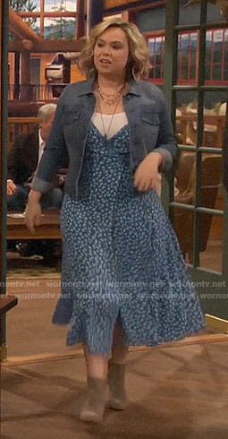 Kristin's blue floral wrap dress on Last Man Standing
