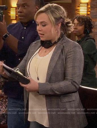 Kristin's grey plaid blazer on Last Man Standing