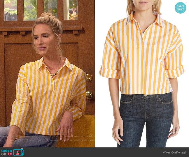 Kule The Keaton Stripe Crop Shirt worn by Molly McCook on Last Man Standing