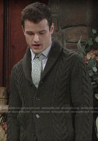 Kyle's cable knit cardigan on The Young and the Restless