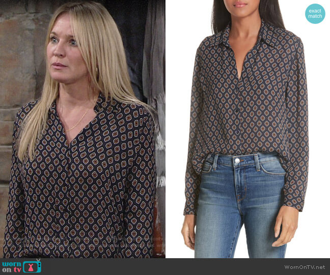 L'Agence Nina Blouse in Midnight worn by Sharon Collins (Sharon Case) on The Young & the Restless