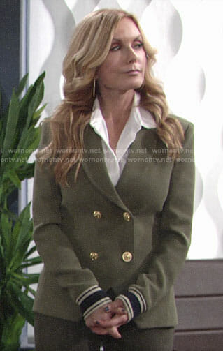 Lauren's green double-breasted blazer on The Young and the Restless