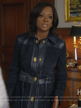 Annalise's black leather and suede coat on How to Get Away with Murder