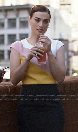 Lena's colorblock dress on Supergirl