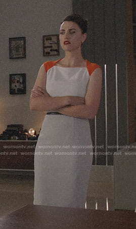 Lena's white and orange dress on Supergirl