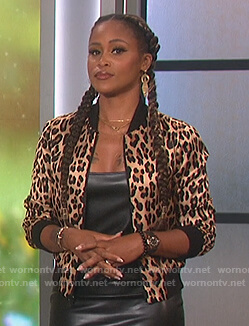 Eve's floral bomber jacket on The Talk