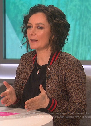 Sara's leopard print bomber jacket on The Talk