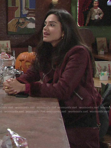 Lola's burgundy suede jacket with fur trim on The Young and the Restless