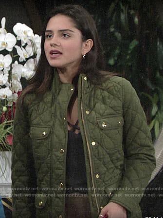 Lola's green quilted jacket on The Young and the Restless
