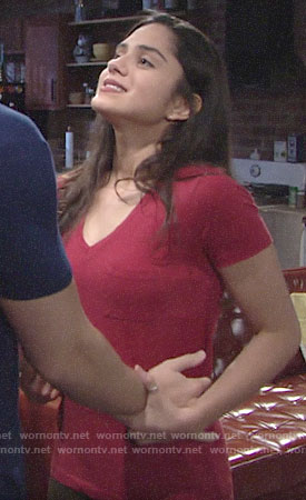 Lola's red v-neck tee on The Young and the Restless