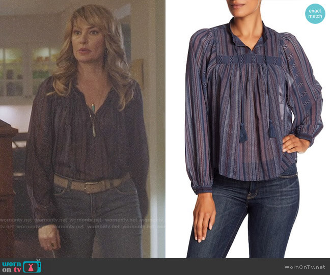 Lucky Brand Border Print Blouse worn by Mädchen Amick on Riverdale