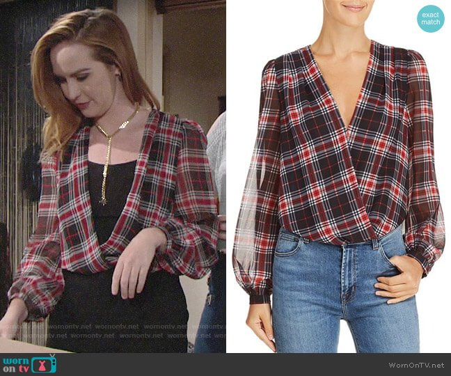 Lucy Paris Plaid Blouson Bodysuit worn by Mariah Copeland (Camryn Grimes) on The Young & the Restless