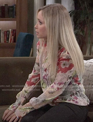 Lulu's floral pleated blouse on General Hospital
