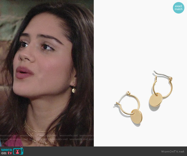 Madewell Disc Charm Mini Hoop Earrings worn by Sasha Calle on The Young & the Restless
