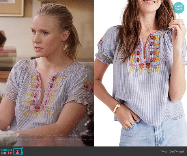 Madewell Embroidered Penny Peasant Top worn by Kristen Bell on The Good Place