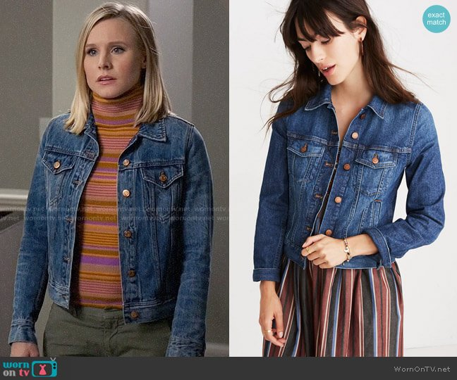Madewell The Shrunken Stretch Jean Jacket worn by Eleanor Shellstrop (Kristen Bell) on The Good Place