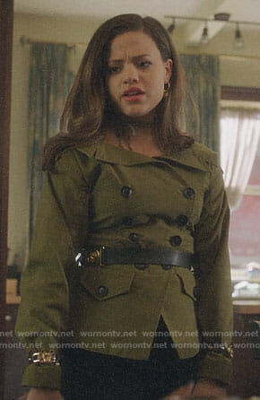 Maggie's green double breasted off-shoulder jacket on Charmed