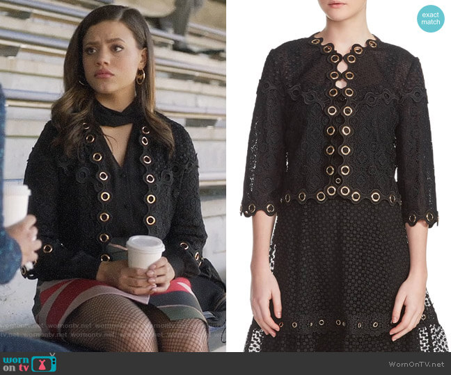 Maje Grommet Trim Lace Jacket worn by Maggie Vera (Sarah Jeffery) on Charmed