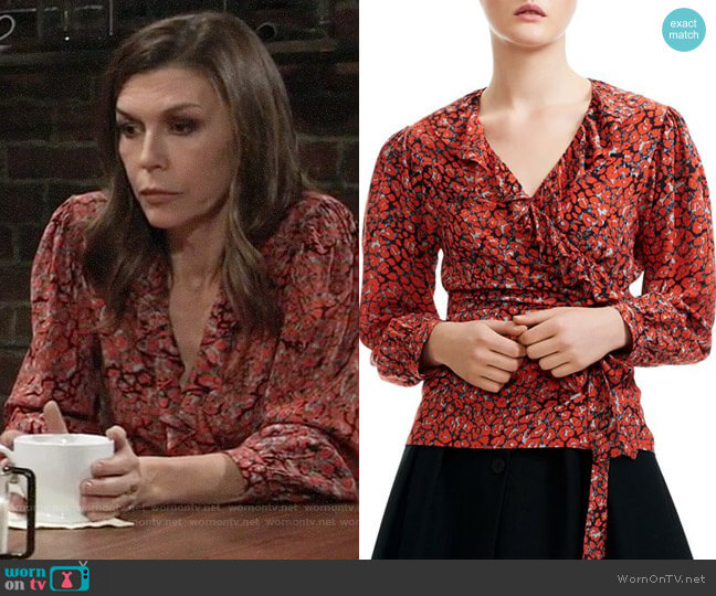 Maje Lito Leopard-Print Wrap Top worn by Anna Devane (Finola Hughes) on General Hospital