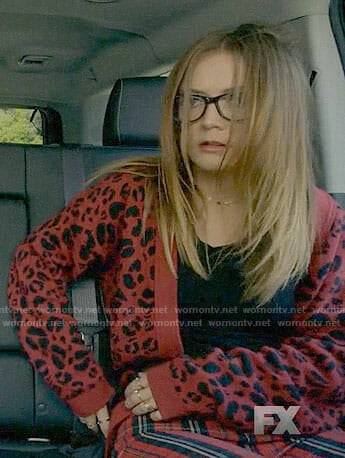 Mallory's red leopard print cardigan and plaid jeans on American Horror Story: Apocalypse