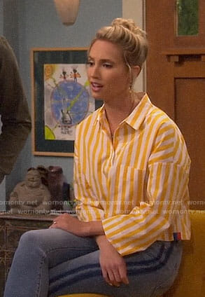 Mandy's yellow striped shirt on Last Man Standing