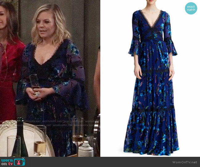 Marchesa Notte Floral Velvet Burnout Gown worn by Maxie Jones (Kirsten Storms) on General Hospital