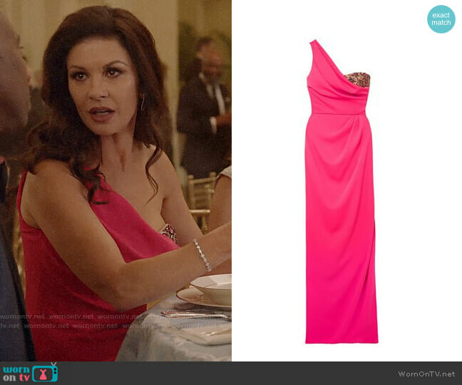 Marchesa Notte One-shoulder Embellished Gown worn by Vicki Ellis (Catherine Zeta-Jones) on Queen America