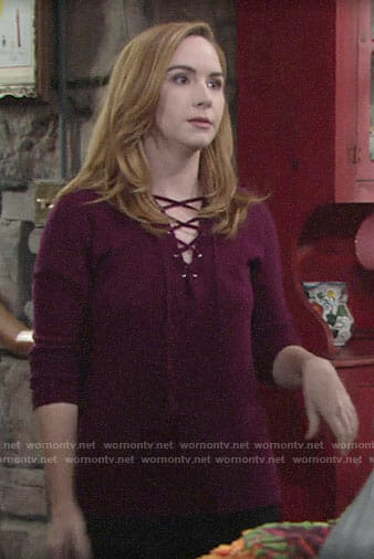 Mariah's purple lace-up sweater on The Young and the Restless