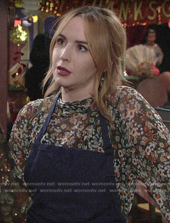 Mariah's floral Thanksgiving blouse on The Young and the Restless