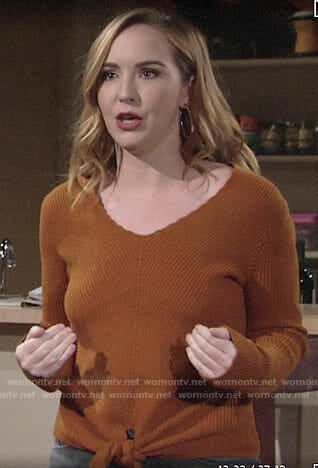 Mariah's orange tie-front sweater on The Young and the Restless