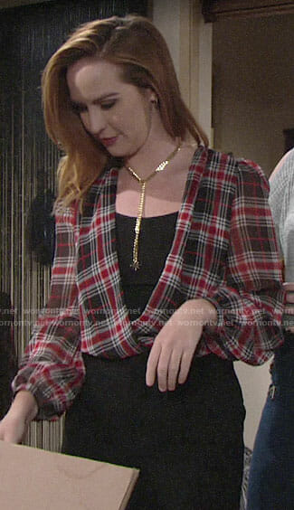 Mariah's plaid wrap blouse on The Young and the Restless