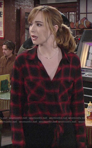 Mariah's black and red plaid shirt on The Young and the Restless