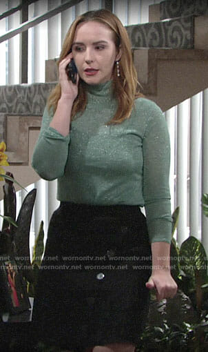 Mariah's green metallic sweater on The Young and the Restless
