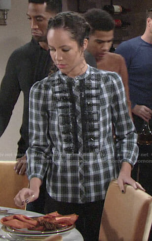 Mattie's embellished plaid top on The Young and the Restless