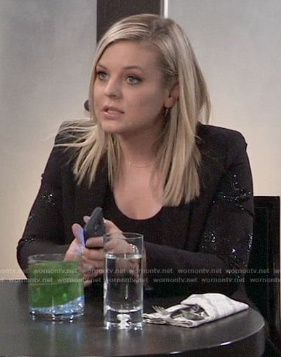 Maxie's black star embellished blazer on General Hospital