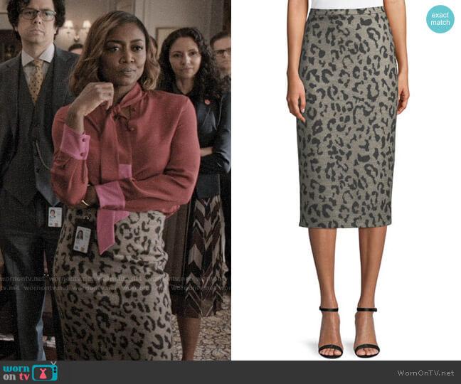 Max Mara Thomas Leopard-Print Wool Pencil Skirt worn by Daisy Grant (Patina Miller) on Madam Secretary