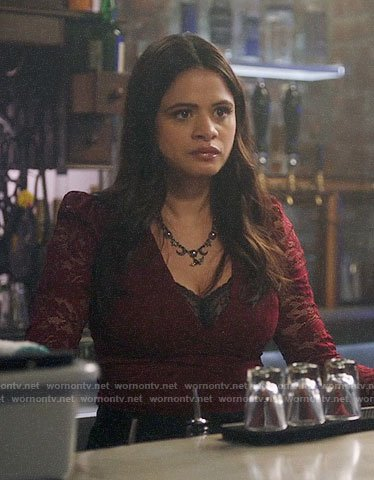 Mel's red lace top on Charmed