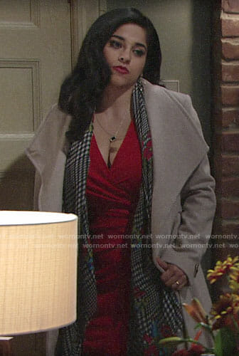 Mia's beige coat on The Young and the Restless
