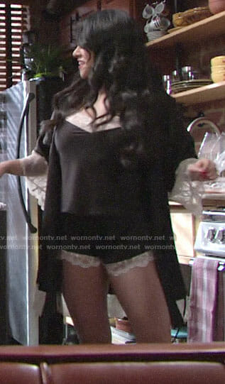 Mia's black and white lace trim pajamas and robe on The Young and the Restless
