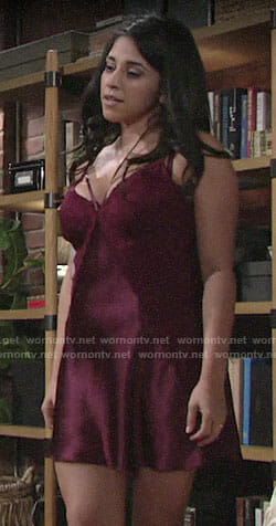 Mia's burgundy lace panel chemise on The Young and the Restless