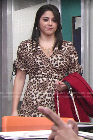 Mia's leopard print wrap dress on The Young and the Restless