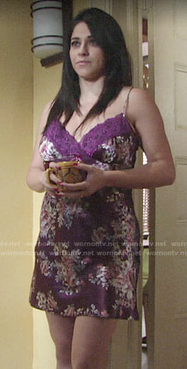 Mia's purple floral chemise on The Young and the Restless