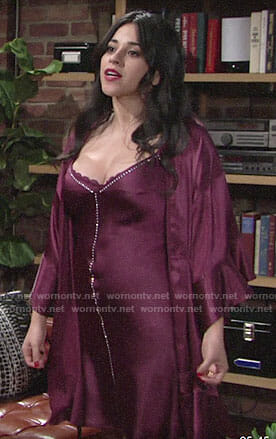 Mia's purple rhinestone studded slip and robe on The Young and the Restless