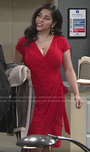 Mia's red wrap dress on The Young and the Restless